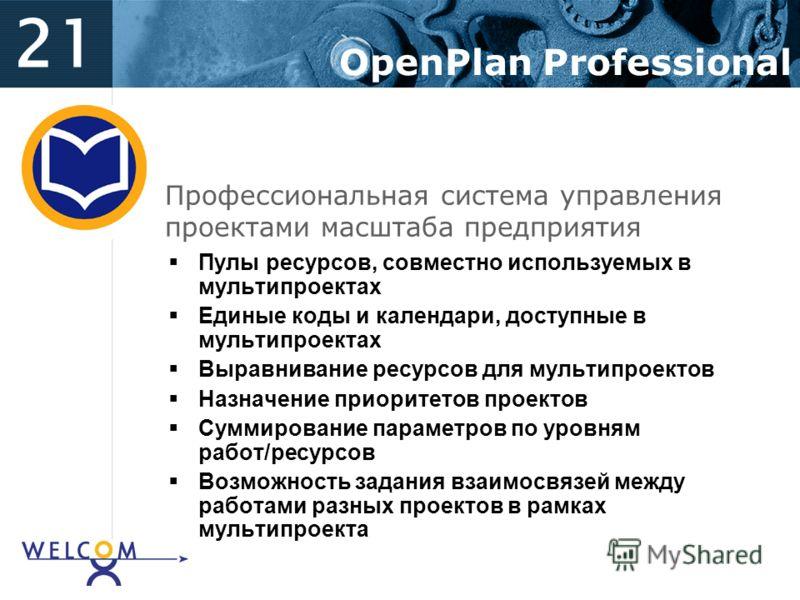 21 OpenPlan Professional Профессиональная система управления проектами масштаба предприятия Пулы ресурсов, совместно используемых в мультипроектах Единые коды и календари, доступные в мультипроектах Выравнивание ресурсов для мультипроектов Назначение