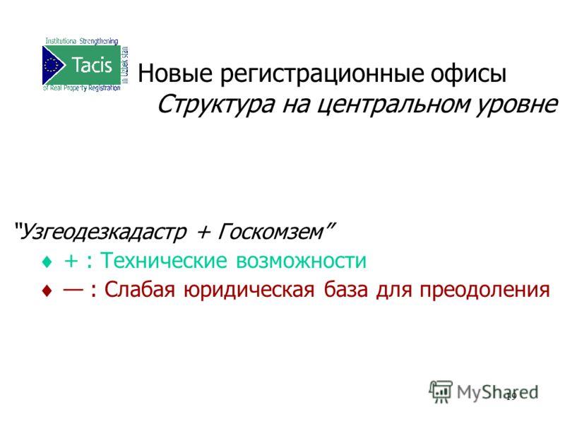 19 Новые регистрационные офисы Структура на центральном уровне Узгеодезкадастр + Госкомзем + : Технические возможности : Слабая юридическая база для преодоления