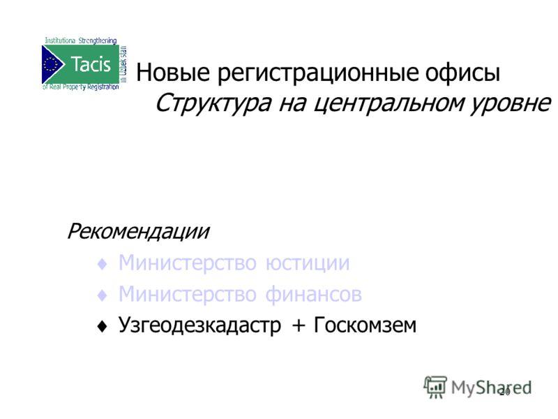 20 Новые регистрационные офисы Структура на центральном уровне Рекомендации Министерство юстиции Министерство финансов Узгеодезкадастр + Госкомзем