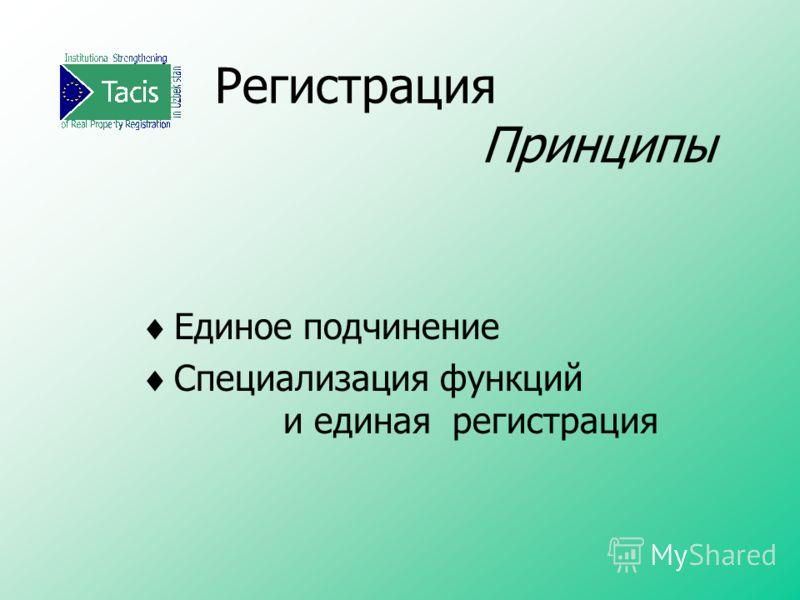 Регистрация Принципы Единое подчинение Специализация функций и единая регистрация