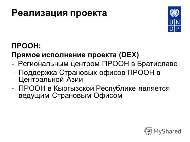 Реализация проекта ПРООН: Прямое исполнение проекта (DEX) - Региональным центром ПРООН в Братиславе - Поддержка Страновых офисов ПРООН в Центральной Азии - ПРООН в Кыргызской Республике является ведущим Страновым Офисом