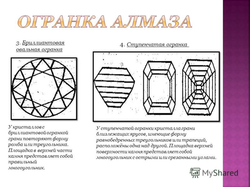 3. Бриллиантовая овальная огранка У кристаллов с бриллиантовой огранкой грани повторяют форму ромба или треугольника. Площадка в верхней части камня представляет собой правильный многоугольник. 4. Ступенчатая огранка У ступенчатой огранки кристалла г