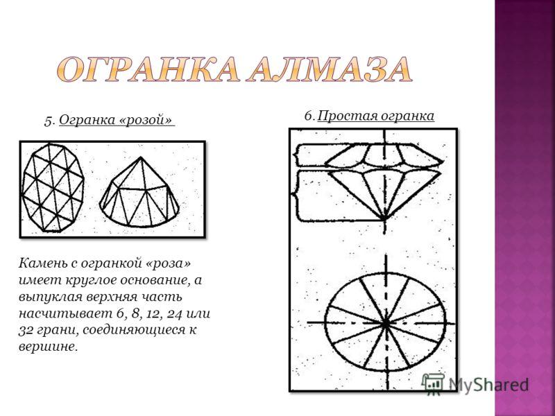 5. Огранка «розой» Камень с огранкой «роза» имеет круглое основание, а выпуклая верхняя часть насчитывает 6, 8, 12, 24 или 32 грани, соединяющиеся к вершине. 6. Простая огранка