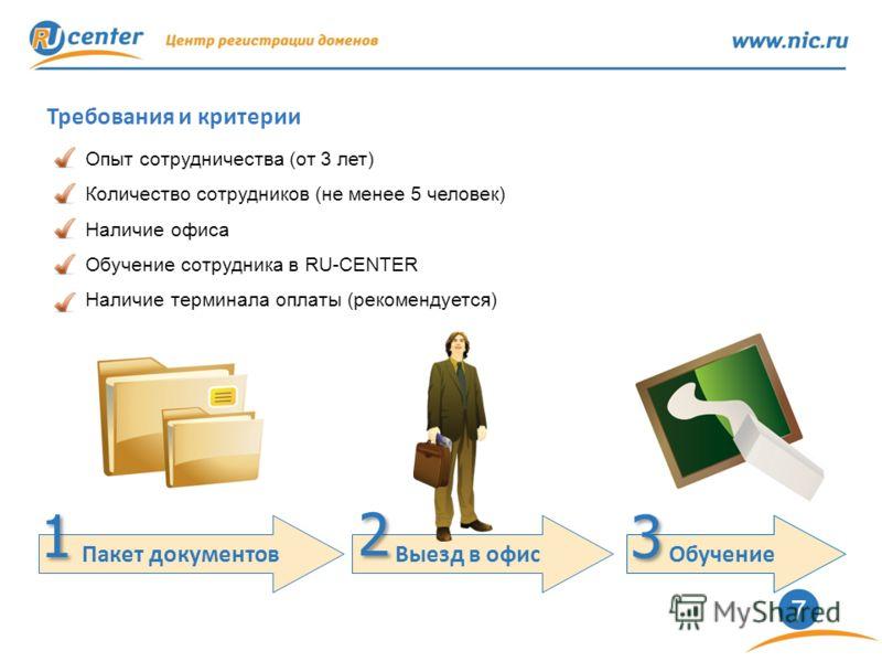 7 Требования и критерии Опыт сотрудничества (от 3 лет) Количество сотрудников (не менее 5 человек) Наличие офиса Обучение сотрудника в RU-CENTER Наличие терминала оплаты (рекомендуется) Пакет документов Выезд в офис 1 1 2 2 Обучение 3 3