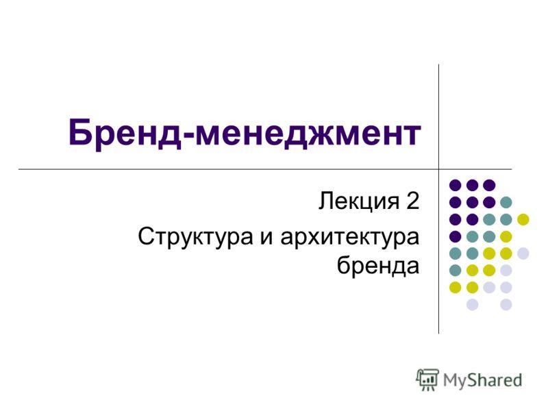 Бренд-менеджмент Лекция 2 Структура и архитектура бренда