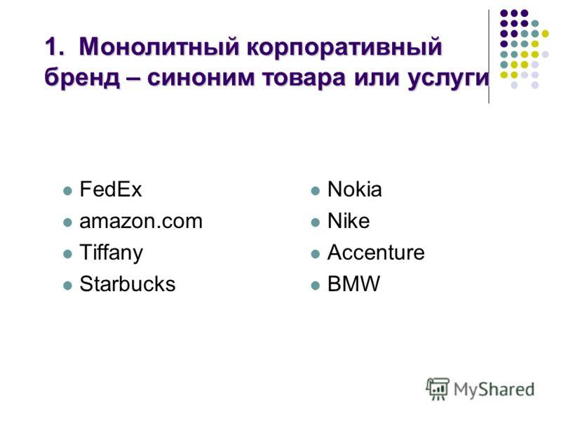 FedEx amazon.com Tiffany Starbucks Nokia Nike Accenture BMW 1. Монолитный корпоративный бренд – синоним товара или услуги