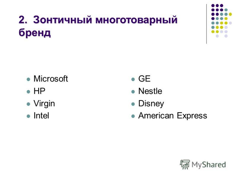 Microsoft HP Virgin Intel GE Nestle Disney American Express 2. Зонтичный многотоварный бренд