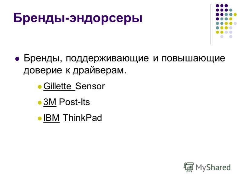 Бренды-эндорсеры Бренды, поддерживающие и повышающие доверие к драйверам. Gillette Sensor 3M Post-Its IBM ThinkPad