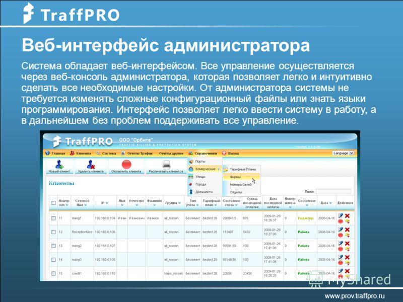 Веб-интерфейс администратора Система обладает веб-интерфейсом. Все управление осуществляется через веб-консоль администратора, которая позволяет легко и интуитивно сделать все необходимые настройки. От администратора системы не требуется изменять сло