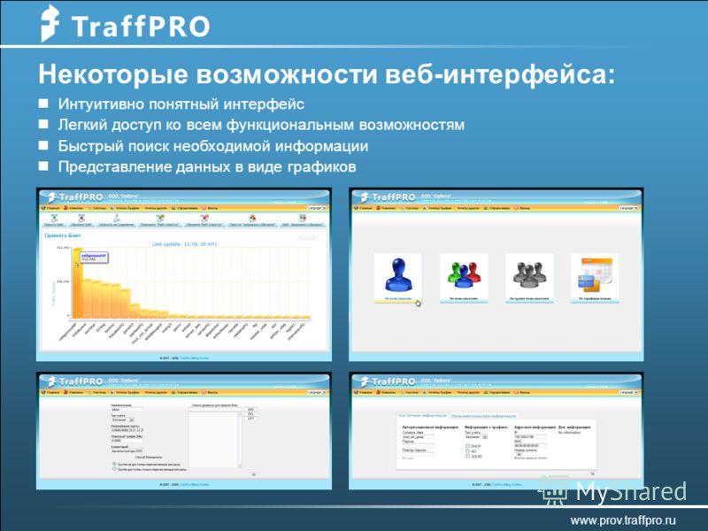 Некоторые возможности веб-интерфейса: Интуитивно понятный интерфейс Легкий доступ ко всем функциональным возможностям Быстрый поиск необходимой информации Представление данных в виде графиков www.prov.traffpro.ru