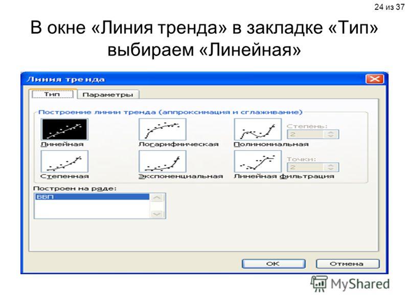 24 из 37 В окне «Линия тренда» в закладке «Тип» выбираем «Линейная»