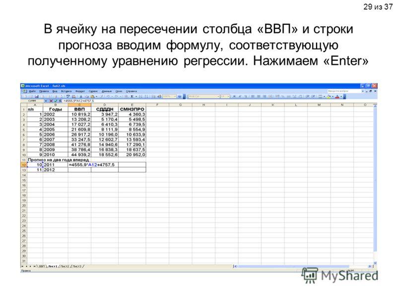 29 из 37 В ячейку на пересечении столбца «ВВП» и строки прогноза вводим формулу, соответствующую полученному уравнению регрессии. Нажимаем «Enter»