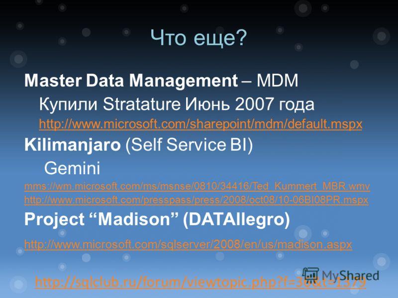 Что еще? Master Data Management – MDM Купили Stratature Июнь 2007 года http://www.microsoft.com/sharepoint/mdm/default.mspx Kilimanjaro (Self Service BI) Gemini mms://wm.microsoft.com/ms/msnse/0810/34416/Ted_Kummert_MBR.wmv http://www.microsoft.com/p