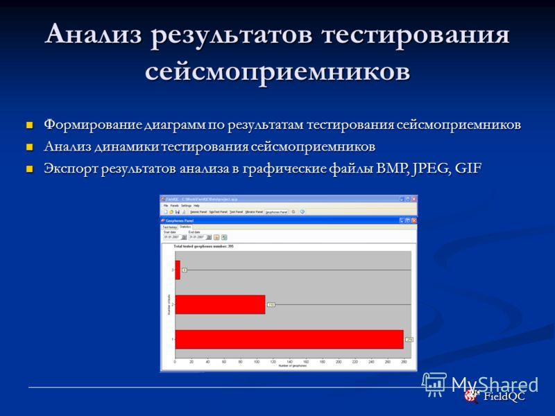 FieldQC Анализ результатов тестирования сейсмоприемников Формирование диаграмм по результатам тестирования сейсмоприемников Формирование диаграмм по результатам тестирования сейсмоприемников Анализ динамики тестирования сейсмоприемников Анализ динами