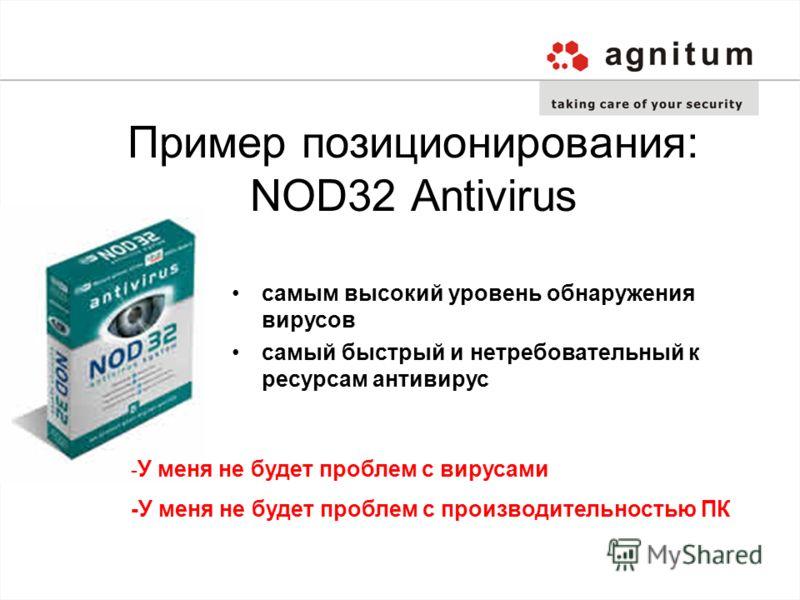 Пример позиционирования: NOD32 Antivirus самым высокий уровень обнаружения вирусов самый быстрый и нетребовательный к ресурсам антивирус - У меня не будет проблем с вирусами -У меня не будет проблем с производительностью ПК