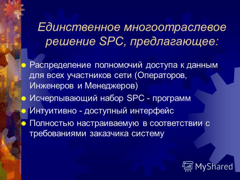 Распределение полномочий доступа к данным для всех участников сети (Операторов, Инженеров и Менеджеров) Исчерпывающий набор SPC - программ Интуитивно - доступный интерфейс Полностью настраиваемую в соответствии с требованиями заказчика систему Единст
