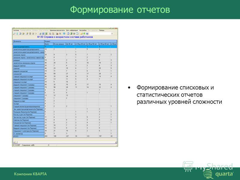 Формирование отчетов Формирование списковых и статистических отчетов различных уровней сложности