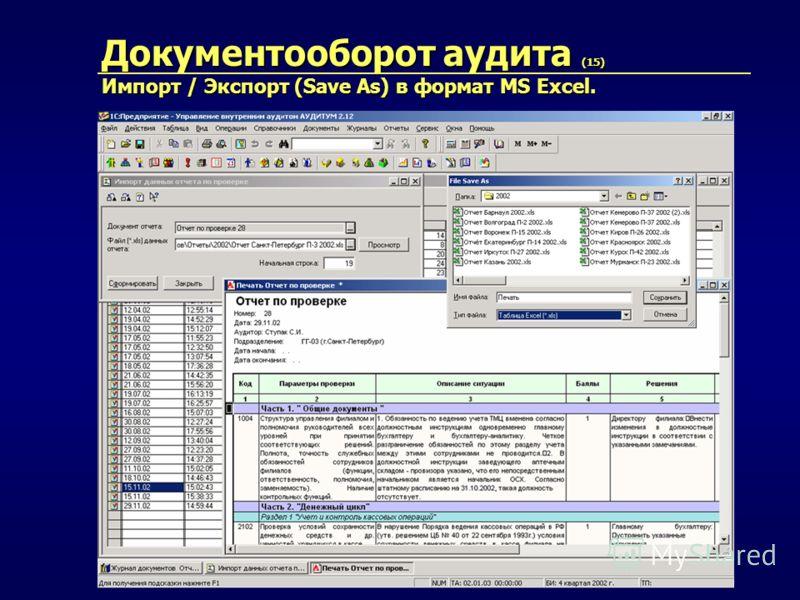 Документооборот аудита (15) Импорт / Экспорт (Save As) в формат MS Excel.