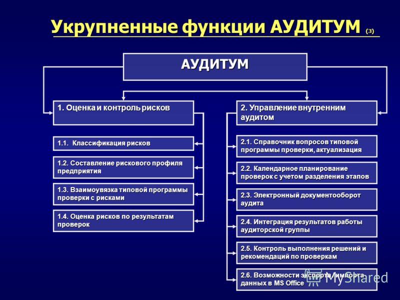 Укрупненные функции АУДИТУМ (3) АУДИТУМ 1. Оценка и контроль рисков 1.2. Составление рискового профиля предприятия 1.4. Оценка рисков по результатам проверок 2. Управление внутренним аудитом 2.2. Календарное планирование проверок с учетом разделения