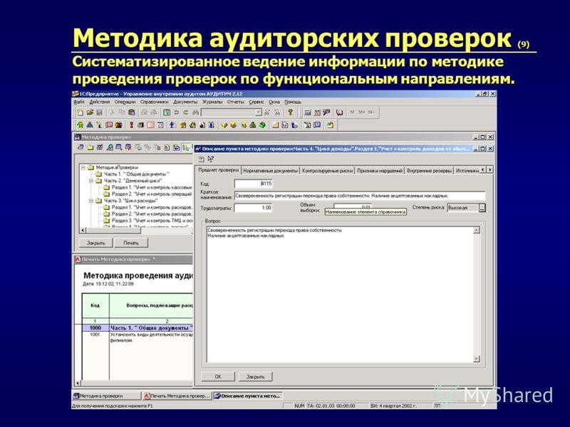 Методика аудиторских проверок (9) Систематизированное ведение информации по методике проведения проверок по функциональным направлениям.