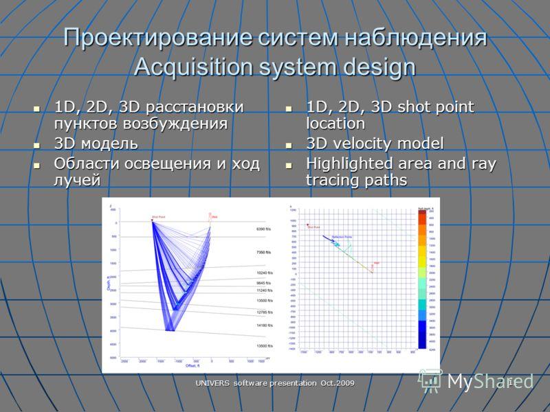 UNIVERS software presentation Oct.2009 11 Проектирование систем наблюдения Acquisition system design 1D, 2D, 3D расстановки пунктов возбуждения 1D, 2D, 3D расстановки пунктов возбуждения 3D модель 3D модель Области освещения и ход лучей Области освещ