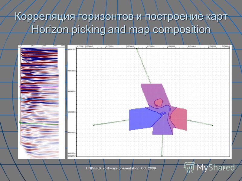 UNIVERS software presentation Oct.2009 13 Корреляция горизонтов и построение карт Horizon picking and map composition