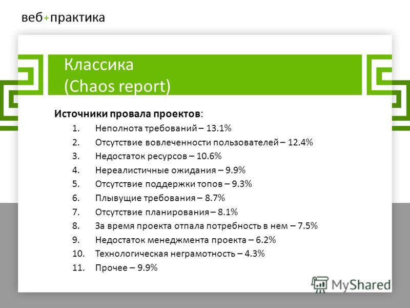 Классика (Chaos report) Источники провала проектов: 1.Неполнота требований – 13.1% 2.Отсутствие вовлеченности пользователей – 12.4% 3.Недостаток ресурсов – 10.6% 4.Нереалистичные ожидания – 9.9% 5.Отсутствие поддержки топов – 9.3% 6.Плывущие требован