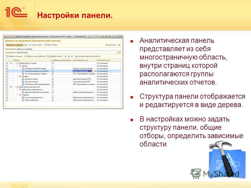 Настройки панели. Аналитическая панель представляет из себя многостраничную область, внутри страниц которой располагаются группы аналитических отчетов. Структура панели отображается и редактируется в виде дерева. В настройках можно задать структуру п