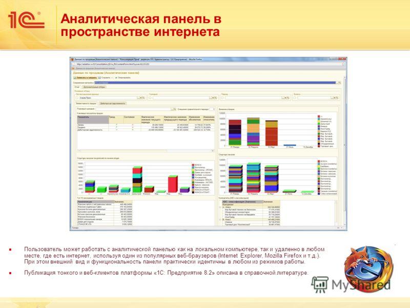 Аналитическая панель в пространстве интернета Пользователь может работать с аналитической панелью как на локальном компьютере, так и удаленно в любом месте, где есть интернет, используя один из популярных веб-браузеров (Internet Explorer, Mozilla Fir