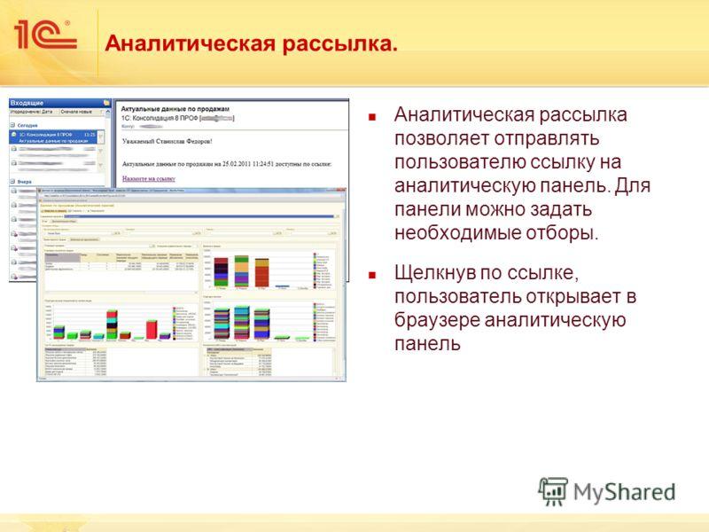 Аналитическая рассылка. Аналитическая рассылка позволяет отправлять пользователю ссылку на аналитическую панель. Для панели можно задать необходимые отборы. Щелкнув по ссылке, пользователь открывает в браузере аналитическую панель