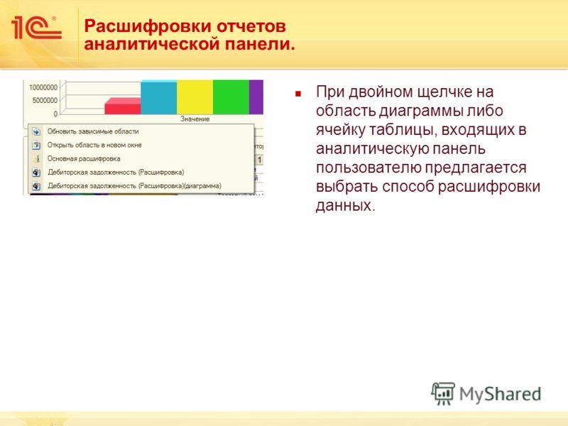 Расшифровки отчетов аналитической панели. При двойном щелчке на область диаграммы либо ячейку таблицы, входящих в аналитическую панель пользователю предлагается выбрать способ расшифровки данных.