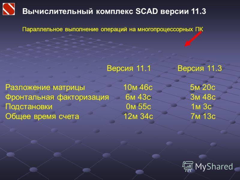 Вычислительный комплекс SCAD версии 11.3 Параллельное выполнение операций на многопроцессорных ПК Версия 11.1 Версия 11.3 Разложение матрицы 10м 46с 5м 20с Фронтальная факторизация 6м 43с 3м 48с Подстановки 0м 55с 1м 3с Общее время счета 12м 34с 7м 1