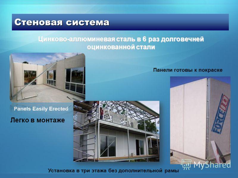 Стеновая система Panels Easily Erected Установка в три этажа без дополнительной рамы Панели готовы к покраске Цинково-аллюминевая сталь в 6 раз долговечней оцинкованной стали Легко в монтаже