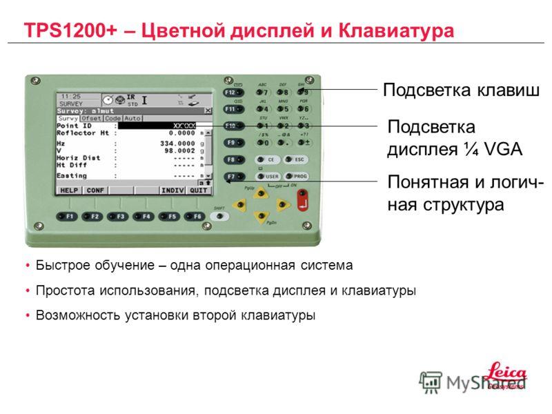 TPS1200+ – Цветной дисплей и Клавиатура Быстрое обучение – одна операционная система Простота использования, подсветка дисплея и клавиатуры Возможность установки второй клавиатуры Подсветка клавиш Подсветка дисплея ¼ VGA Понятная и логич- ная структу