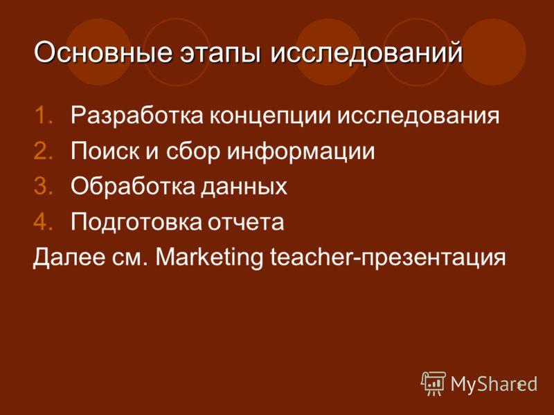 3 Основные этапы исследований 1.Разработка концепции исследования 2.Поиск и сбор информации 3.Обработка данных 4.Подготовка отчета Далее см. Marketing teacher-презентация