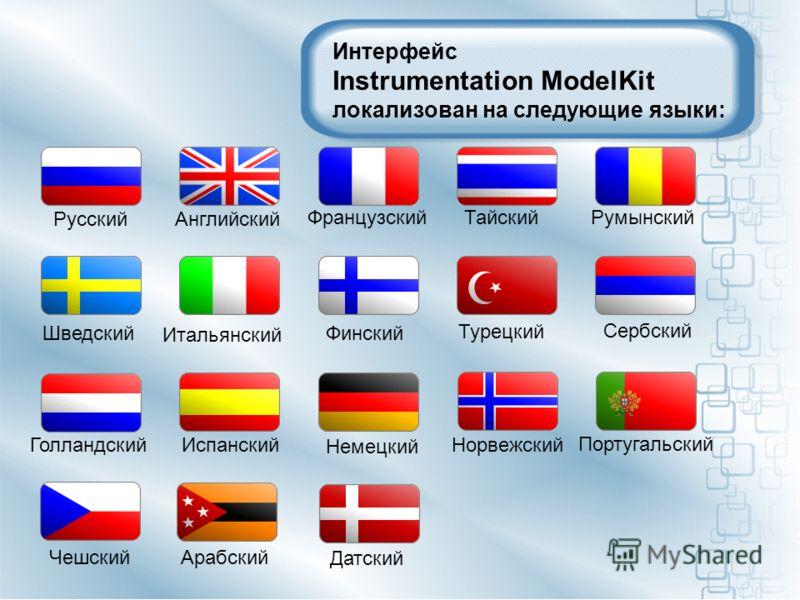 Интерфейс Instrumentation ModelKit локализован на следующие языки: Русский Английский Французский Тайский Шведский Итальянский Румынский Финский Сербский Турецкий Португальский Норвежский Немецкий ИспанскийГолландский Чешский Арабский Датский