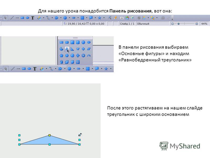 Для нашего урока понадобится Панель рисования, вот она: В панели рисования выбираем «Основные фигуры» и находим «Равнобедренный треугольник» После этого растягиваем на нашем слайде треугольник с широким основанием