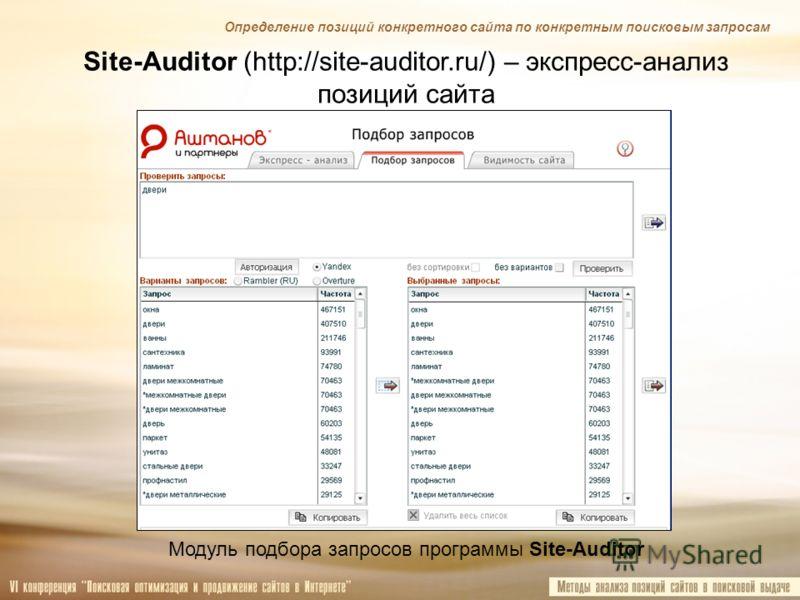 Site-Auditor (http://site-auditor.ru/) – экспресс-анализ позиций сайта Модуль подбора запросов программы Site-Auditor Определение позиций конкретного сайта по конкретным поисковым запросам