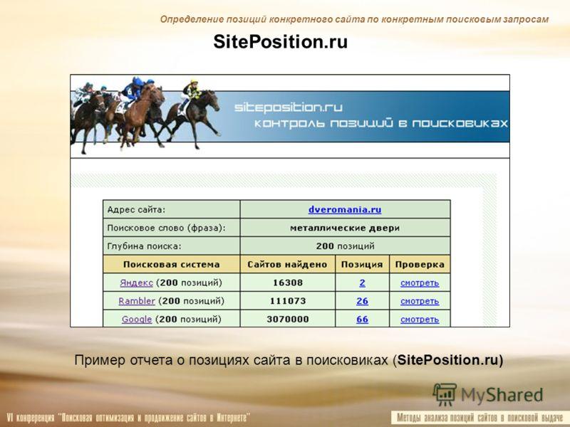 SitePosition.ru Пример отчета о позициях сайта в поисковиках (SitePosition.ru) Определение позиций конкретного сайта по конкретным поисковым запросам