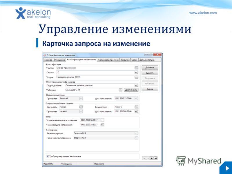 akelon.com Управление изменениями Карточка запроса на изменение