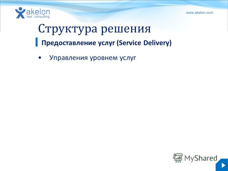 akelon.com Структура решения Управления уровнем услуг Предоставление услуг (Service Delivery)