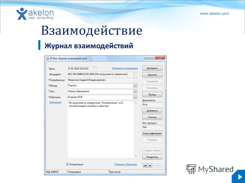 akelon.com Взаимодействие Журнал взаимодействий