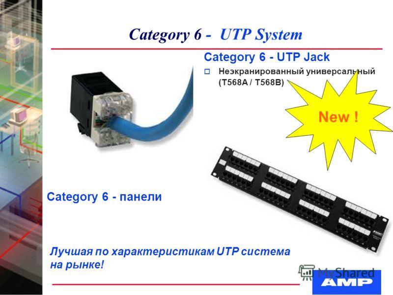 Category 6 - UTP System Category 6 - UTP Jack o Неэкранированный универсальный (T568A / T568B) Category 6 - панели Лучшая по характеристикам UTP система на рынке! New !