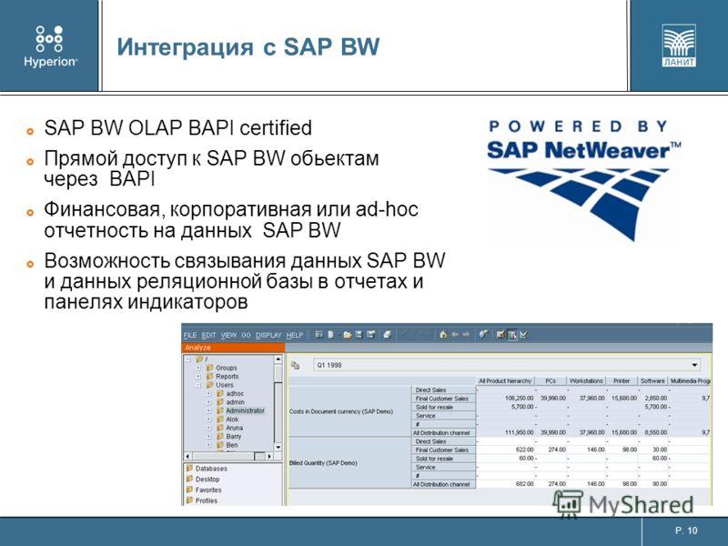 P. 10 Интеграция с SAP BW SAP BW OLAP BAPI certified Прямой доступ к SAP BW обьектам через BAPI Финансовая, корпоративная или ad-hoc отчетность на данных SAP BW Возможность связывания данных SAP BW и данных реляционной базы в отчетах и панелях индика