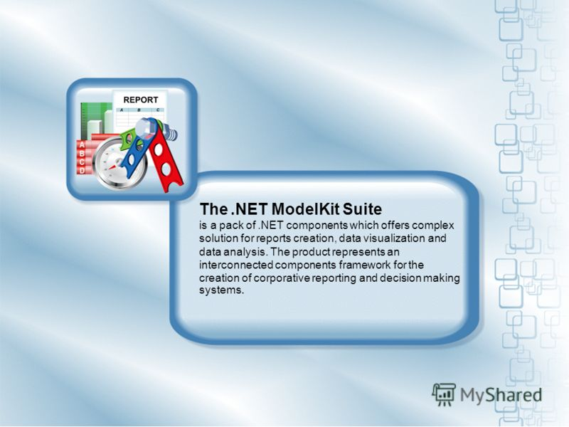 The.NET ModelKit Suite is a pack of.NET components which offers complex solution for reports creation, data visualization and data analysis. The product represents an interconnected components framework for the creation of corporative reporting and d