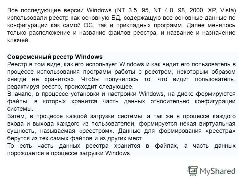 Современный реестр Windows Реестр в том виде, как его использует Windows и как видит его пользователь в процессе использования программ работы с реестром, некоторым образом «нигде не хранится». Чтобы получилось то, что видит пользователь, редактируя
