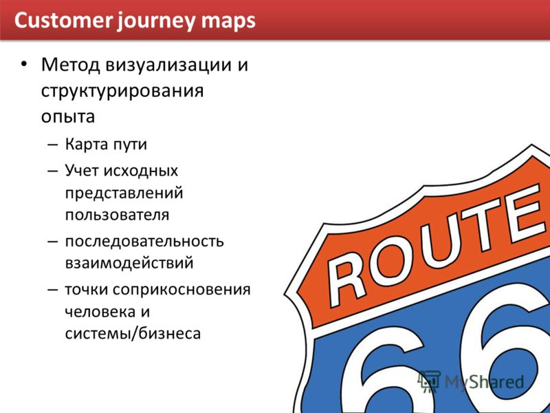 Customer journey maps Метод визуализации и структурирования опыта – Карта пути – Учет исходных представлений пользователя – последовательность взаимодействий – точки соприкосновения человека и системы/бизнеса