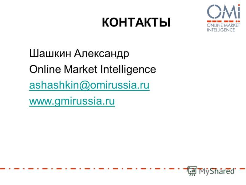 КОНТАКТЫ Шашкин Александр Online Market Intelligence ashashkin@omirussia.ru www.gmirussia.ru