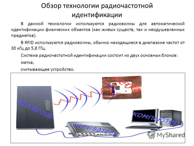Обзор технологии радиочастотной идентификации В данной технологии используются радиоволны для автоматической идентификации физических объектов (как живых существ, так и неодушевленных предметов). В RFID используются радиоволны, обычно находящиеся в д