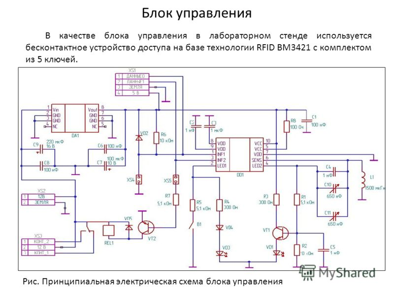 Блок управления В качестве блока управления в лабораторном стенде используется бесконтактное устройство доступа на базе технологии RFID BM3421 с комплектом из 5 ключей. Рис. Принципиальная электрическая схема блока управления